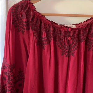 Sundance Red Embroidered Peasant Blouse